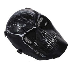 Image 3 - Leger Schedel Skelet Airsoft Paintball Bb Gun Full Face Game Bescherm Safe Mask Zilver Zwart