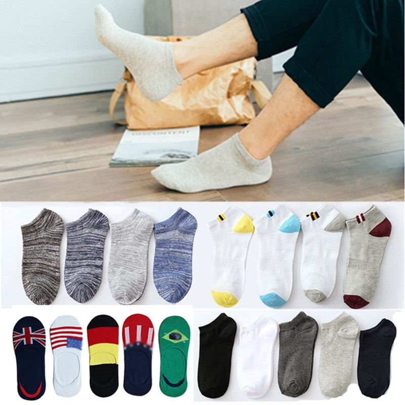 5Pair/Lot Autumn Winter Men Socks Unisex Cotton Casual Solid Color Striped Breathable Boat Socks Invisible Short Sox Male Meias