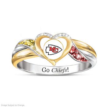 Nowe mody wykwintne rugby Super Bowl Kansas Chiefs go chiefs champion biżuteria damska pierścionek zaręczynowy ślub pierścionek na prezent tanie i dobre opinie foydjew Miedzi Kobiety Cyrkonia TRENDY Koktajl pierścień Geometryczne 10mm Wszystko kompatybilny Nastrój tracker R1511