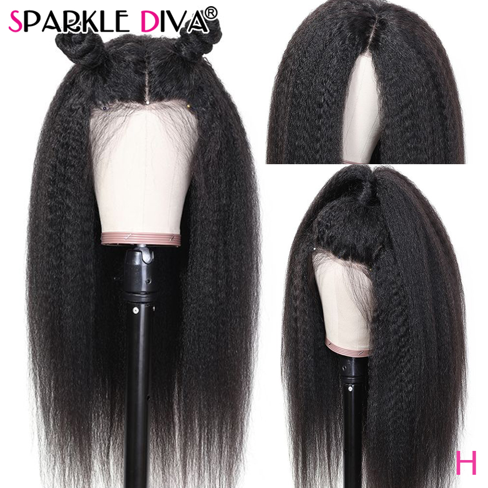 Kinky Straight Lace Front Human Hair Wigs Peruvian Lace Front Wig 13*4 Medium Brown Lace Remy Human Hair Wigs For Black Women