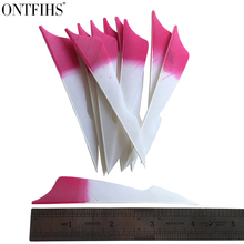ONTFIHS 50pcs 4inch Sting Archery Fletches Natural Turkey Feather Gradient Pink Fletching Feathers RW