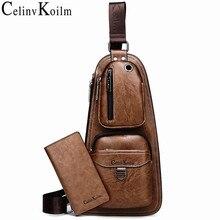 Повседневные мужские рюкзаки известного бренда Celinv Koilm, Высококачественная популярная нагрудная сумка через плечо, мужские кожаные слинг сумки для путешествий на открытом воздухе