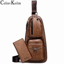 Celinv koilm有名なブランド男性カジュアルデイパック高品質ホットクロスボディ胸バッグ男の革スリングバッグ屋外旅行