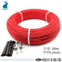 100 medidor 17ohm 24k ptfe chama retardador de fibra de carbono cabo de aquecimento fio de aquecimento diy cabo de aquecimento especial para fontes de aquecimento|Fios elétricos| |  -