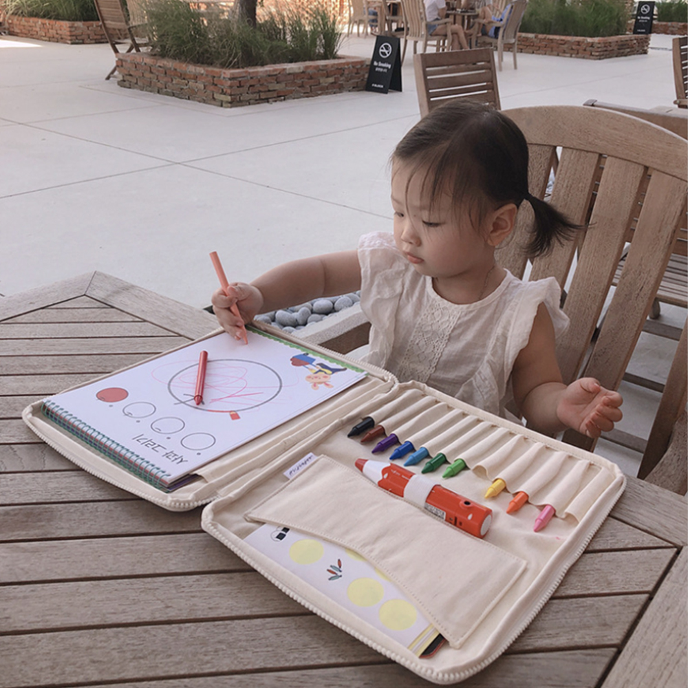 Kids Canvas Brush Storage Bag Crayon Large Multi-functional Capacity Learning & Education Drawing Toys