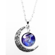 HOT! 2019 New Cool Star Unicorn Pattern Series Glass Convex Fashion Ladies Pendant Necklace Jewelry Gifts