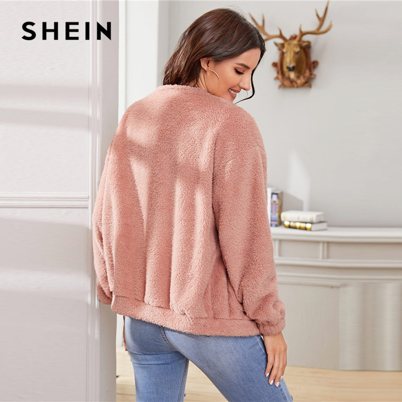 SHEIN Pink Solid Zipper Front Casual Teddy Jacket Coat Women 2019 Winter Streetwear Long Sleeve Double Pocket Ladies Outwear 2