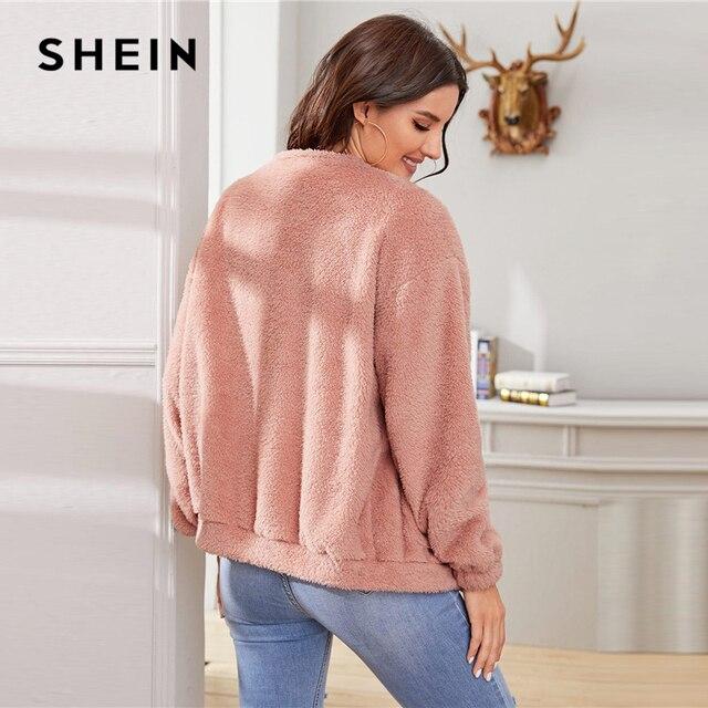 SHEIN Pink Solid Zipper Front Casual Teddy Jacket Coat Women 2019 Winter Streetwear Long Sleeve Double Pocket Ladies Outwear 2