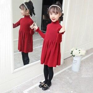 Image 5 - Meisjes Jurk Effen Gebreide Jurk Meisjes Coltrui Jurk Meisje Herfst Winter Kids Meisjes Kleding 6 8 10 12 14 jaar