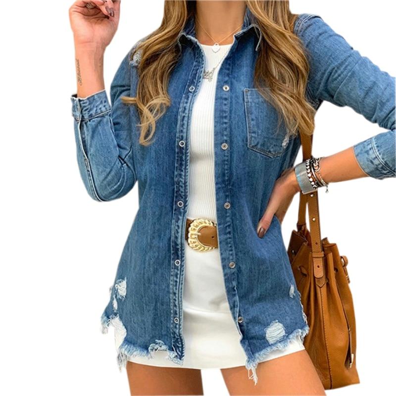 Casual 2019 Women Denim Jacket Coat Autumn New Long Sleeve Jeans Jackets Lapel Tops Pocket Single Breasted Coat Steetwear GV770