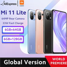 world premier global versão global xiaomi mi 11 lite smartphone snapdragon 732g octa núcleo 64gb/128gb 64mp câmera traseira 4520mah nfc