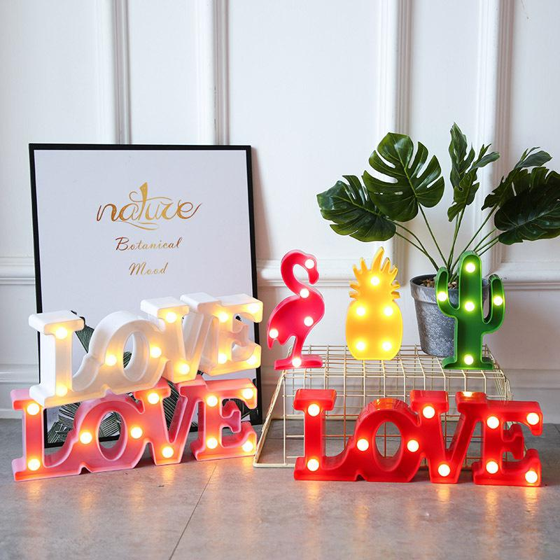 Romantic 3D LOVE LED Letter Sign Night Light Marquee Table Lamp Pineapple/Flamingo/Cactus Modeling Night Light For Wedding Decor