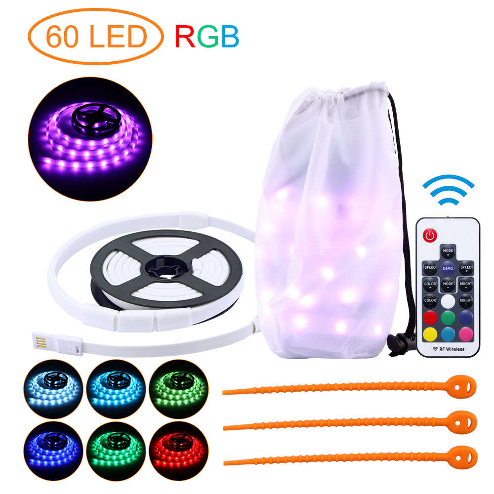 Waterdichte Camping RGB LED Strip Licht Lantaarn Lamp 1.5M SMD2835 DC 5V USB LED Lichtslang Outdoor Wandelen kamp Tent Opknoping Lamp