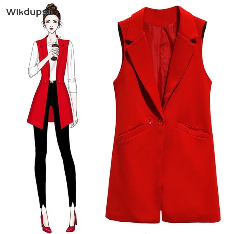 Vest For Women Sleeveless Jacket Coat Long Vest Blazer Formal Work Ladies Office Vintage Slim Suit Waistcoat Female Plus Size 2