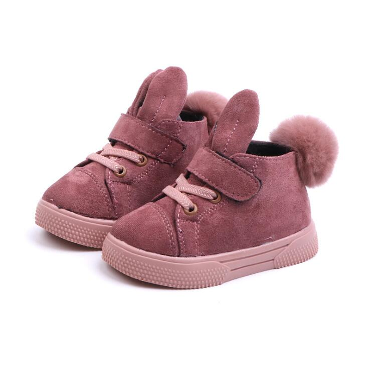New Winter Girls Boots Plush Toddler Children Snow Boots Rabbit Soft Sole Warm Baby Kids Boots EU 21-30