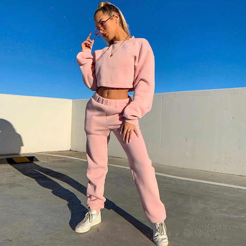 Trainingspak Vrouwen Tweedelige Zachte Set Fleece Warm Streetwear Korte Mouw Crop Top + Jogger Broek Sport Matching Sweatsuit Outfit