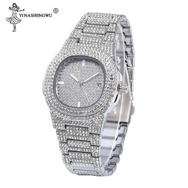 3 uds. Collar + reloj + pulsera Hip Hop Miami cadena cubana helado oro plata diamantes de imitación CZ Bling rapero hombres Joyas 6
