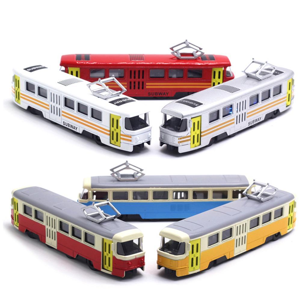 Classic Train Tram Diecast Pull Back Model with LED Music Developmental Kids Toy(China)