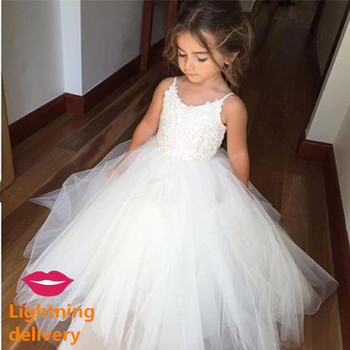 New First Communion Dresses for Girls Champagne O-neck Sleeveless Ball Gown Lace Appliques Flower Girl Weddings - discount item  34% OFF Wedding Party Dress