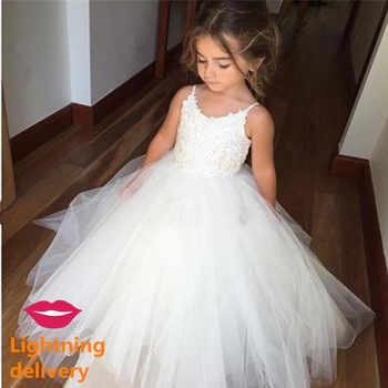New First Communion Dresses for Girls Champagne O-neck Sleeveless Ball Gown Lace Appliques Flower Girl Dresses for Weddings - DISCOUNT ITEM  30% OFF All Category