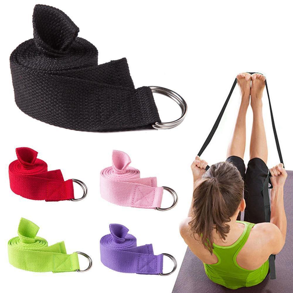 Women Yoga Stretch Strap Multi-colors D-Ring Fitness Belt Exercise Gym Rope Figure Waist Leg Resistance Bands Fitness Yoga Belt