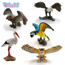 Kawaii Simulation White crane Bald Eagle Owl Parrot bird animal model action figure Plastic doll house children Toys accessory