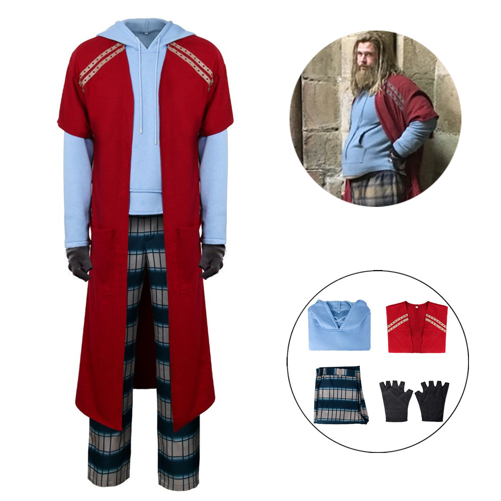 Avengers 4 Endgame Fat Thor Cosplay Costume Outfit Pants Hoodie Full Set