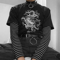 Camiseta feminina hip hop algodão harajuku gótico de grandes dimensões coreano estético dropshipping vintage dragão ulzzang topo punk kpop roupas