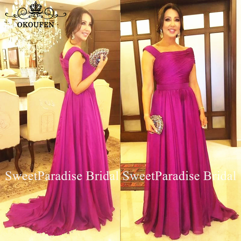 Fuchsia Chiffon Mother Of The Bride Dresses For Women Graceful Sweep Train Long A Line Formal Evening Dress Party Gown