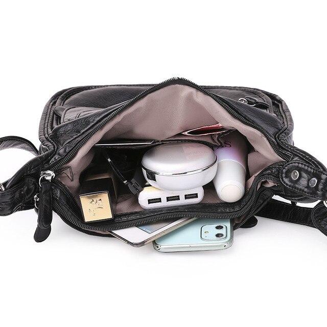 черная сумка мессенджер с несколькими карманами для женщин простая фотография