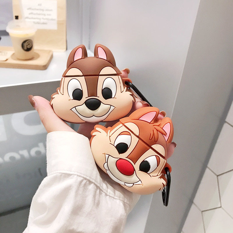For AirPod 2 Case 3D Squirrel Cartoon Soft Silicone Wireless Bluetooth Earphone Cases For Apple Airpods Case Cute Cover Funda