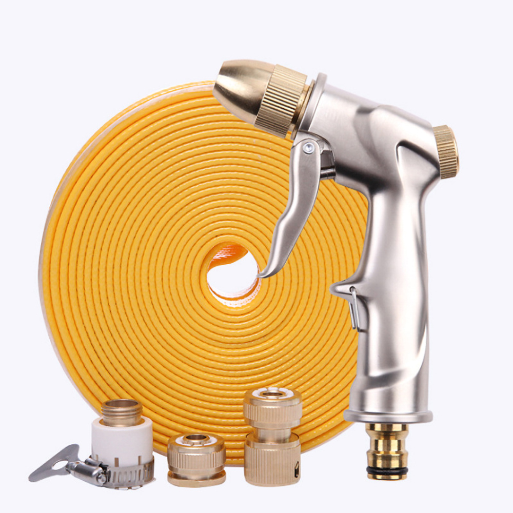 Garden Hose Nozzle Set Car Wash High Pressure Water Gun Set All Metal Water Gun TPE Water Pipe Suitable for EU Standards|Watering Kits| |  - title=