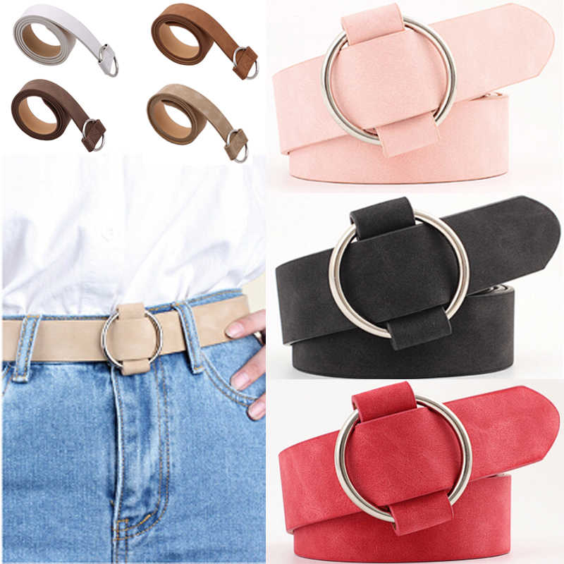 2019 Fashion female metal round buckle wide belts for women dress jeans belt woman ladies faux leather straps women waist  belt