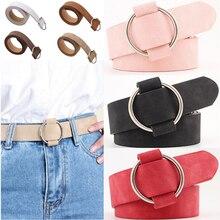 2019 moda femenina hebilla redonda de metal cinturones anchos para mujeres vestido jeans cinturón mujer señoras faux cuero correas mujer cintura cinturón