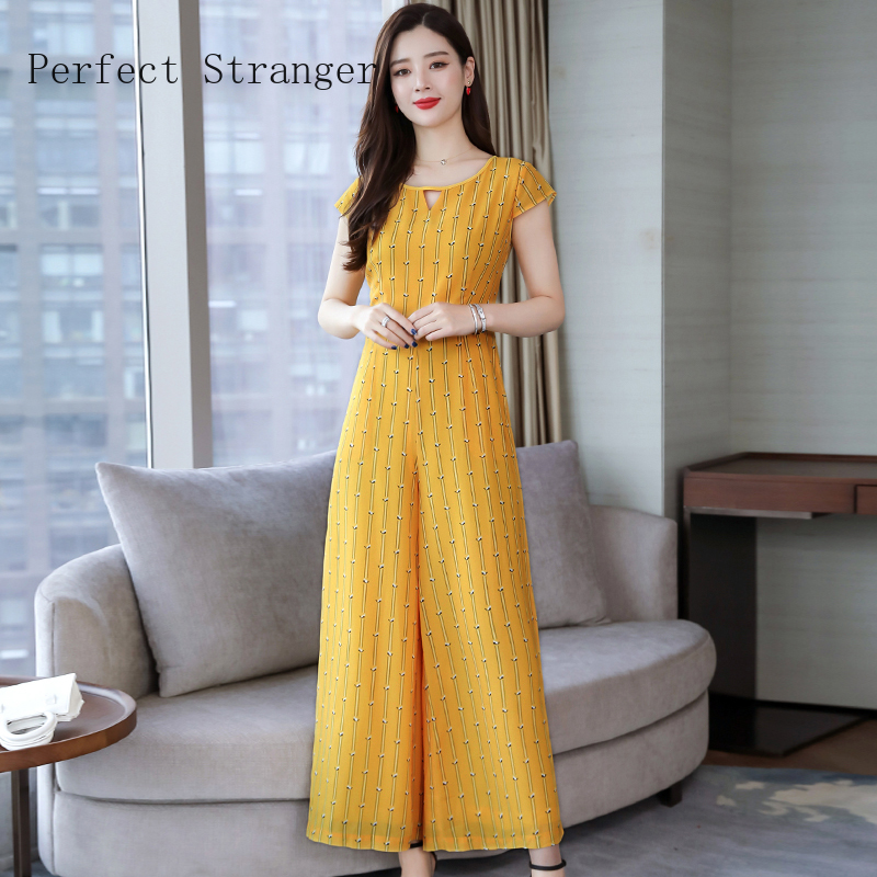 2020 Summer New Arrival O Collar Short Sleeve Women Chiffon Jumpsuits High Quality Plus Size S-3XL