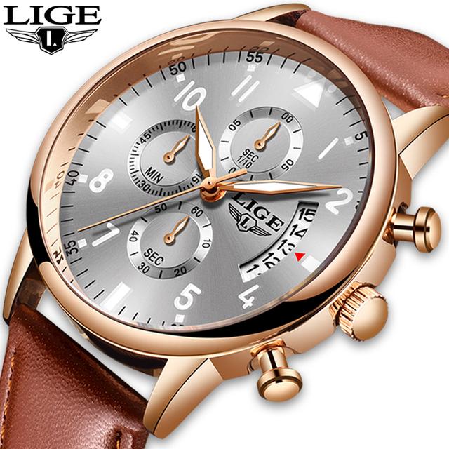 2020 LIGE Mens Watches Top Brand Luxury Waterproof 24 Hour Date Quartz Clock Male Leather Sports Wrist Watch Relogio Masculino