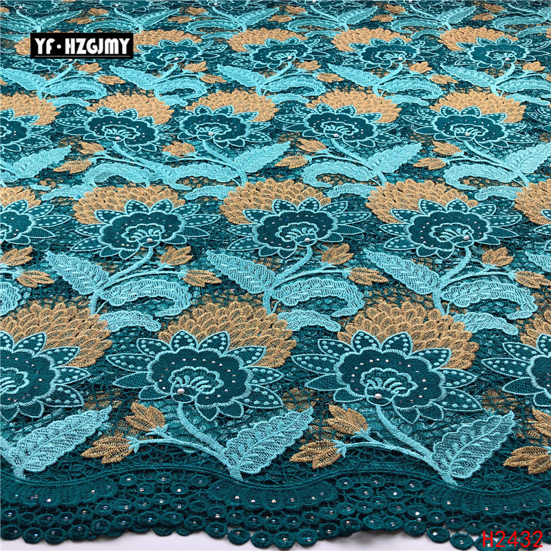 YF HZGJMY Nigeriano Africano Lace Tecidos de Alta Qualidade 2019 Bordado Tecidos de veludo Francês Rendas Projeto Especial Com Pedras A2691 - 6