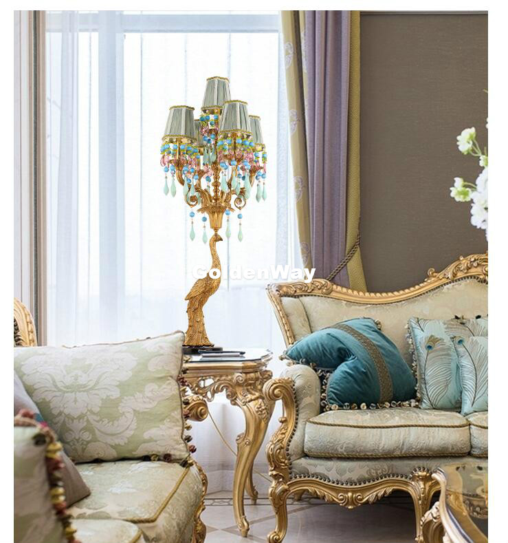 Decora французская настольная лампа медный Павлин гостиная спальня прикроватная