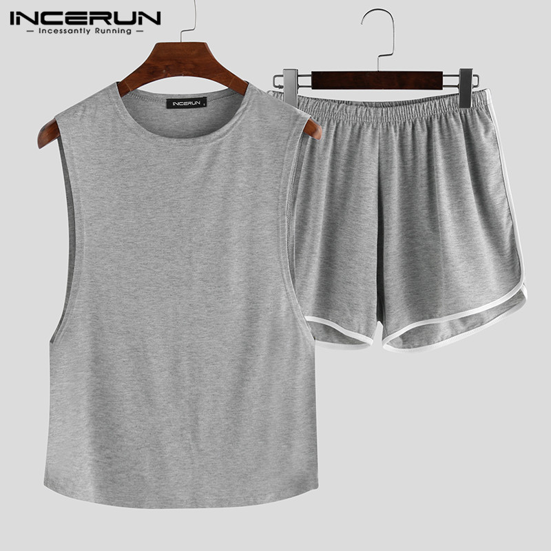 INCERUN Summer Fashion Solid Color Men Pajamas Sets Casual Sleeveless O Neck Tops Shorts Homewear Sexy Sleepwear Sets Tanks 2020