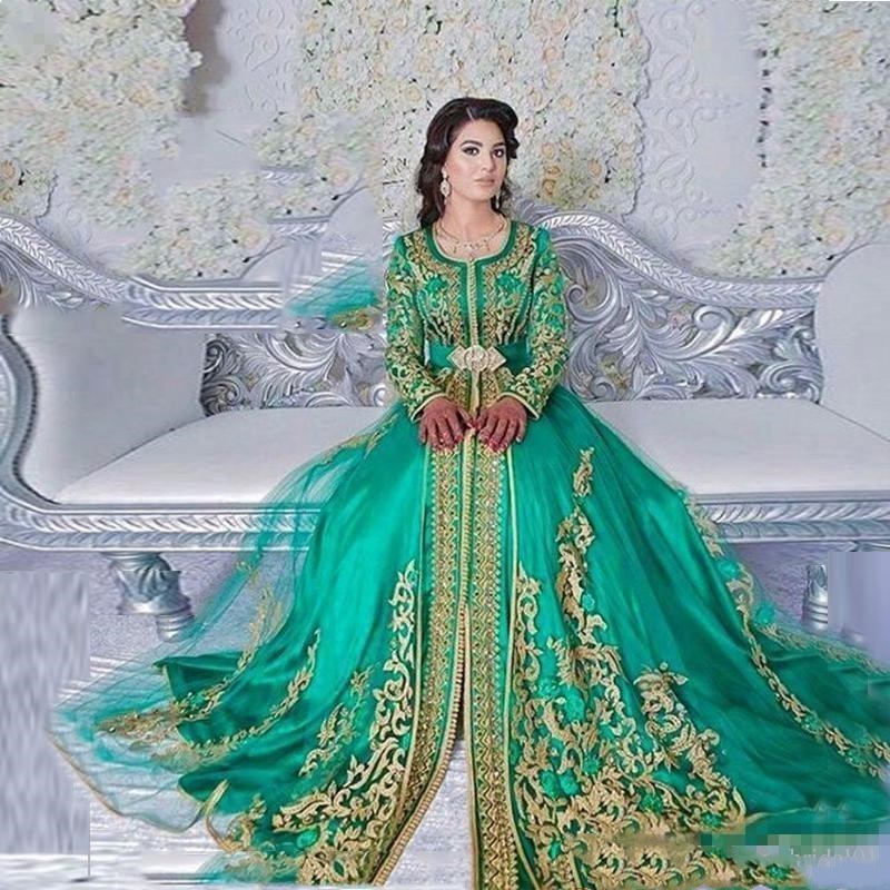 merald Green Muslim Formal Evening Dresses Long Sleeves Abaya Designs Dubai Turkish Prom Evening Party Gowns Cheap Moroccan Kaft