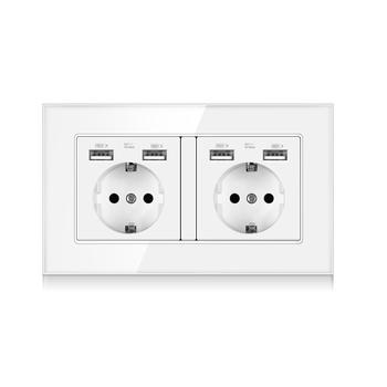 EU Standard Wall Power Plug adapter Socket ,16A Dual USB Electrical Double Outlet Switch 146mm*86mm,Glass Panel,White,110-250V 3 colors smart home best dual usb port 2000ma wall charger adapter 16a eu standard electrical plug socket power outlet panel