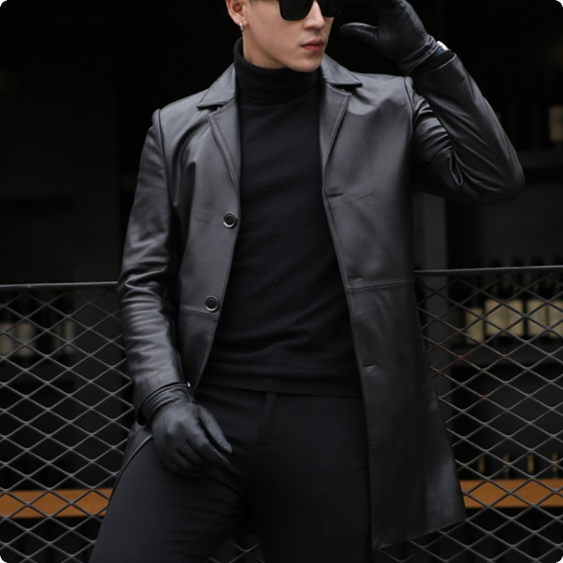 2020 Autumn New Arrival Mens Sheepskin Genium Leather Jackets Slim Fit Male Long Coat Jaqueta De Couro Masculino Genuino Solid