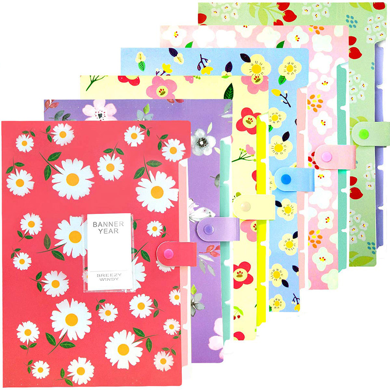 Expanding File Folder - 6 Pack File Organizer With 5 Pockets Document Accordion Folder For School And Office