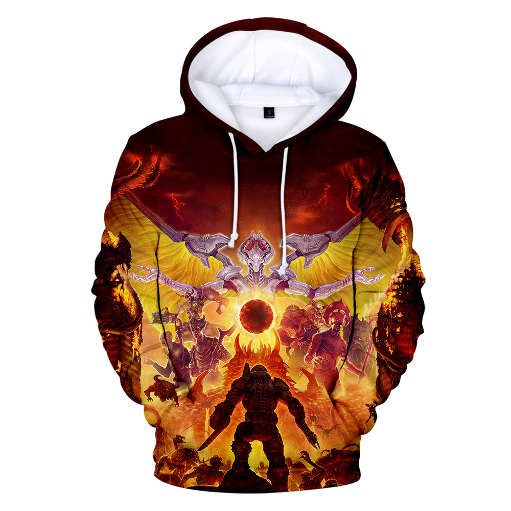 Doom Eternal Hoodies Sweatshirts 2019 Science Fiction Film 3d Movie Long Sleeve Men Outwear Doom Eternal Hoodie Casual Pullover