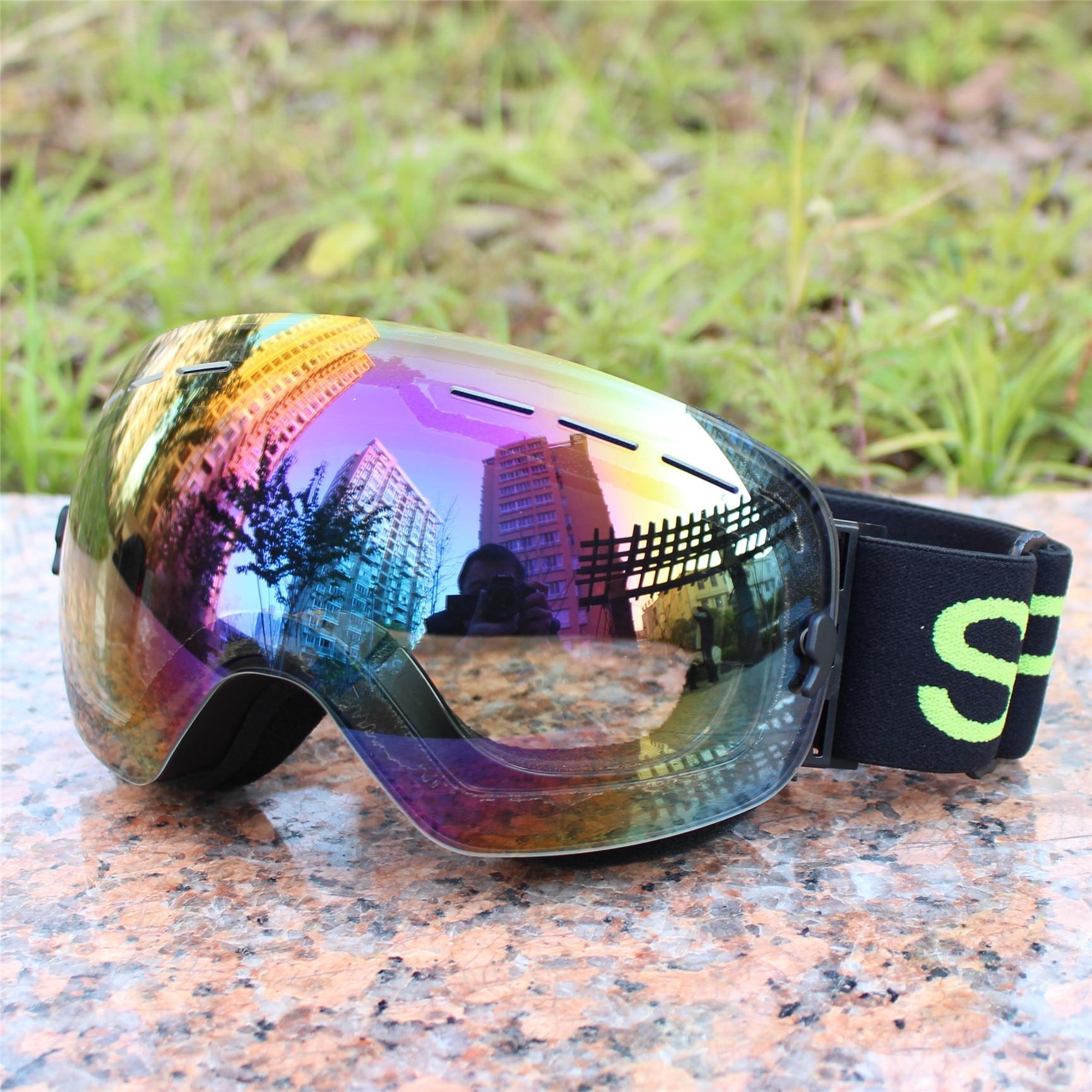 Large Spherical Ski Goggles Single Layer Card Myopia Profession Anti-fog Ski Goggles Export Men And Women Coatings Night Vision