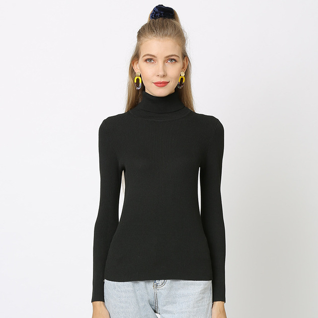 Duckwaver S~4XL Plus Size Women Sweaters Turtleneck Pullovers soft Primer Shirt  Long Sleeve Casual Slim-fit Knitted Sweater 8