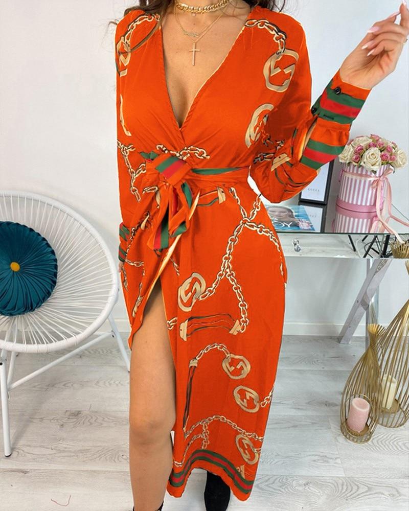Sexy Deep V Neck Baroque Chain Print Dress Women Long Sleeve High Slit Long Dresses|Dresses| - AliExpress