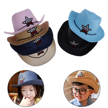 Straw-Hat Sunhat Western-Cowboy Baby Head-Decoration Sun-Children's The Outdoor SHELTERS