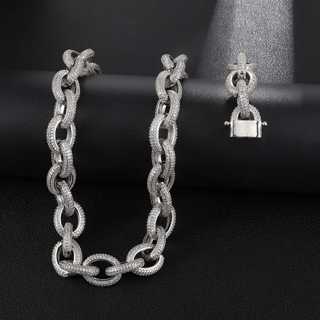 Hip Hop 12MM Iced Out AAA CZ Twisted Oval Cuban Link Chain Necklace Big Clasp Gold Silver Color Zircon For Men Copper Jewelry