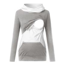 Hoodie Sweater Hooded-Breastfeeding Maternity-Sweatshirt Nursing Pregnant-Women Long-Sleeves